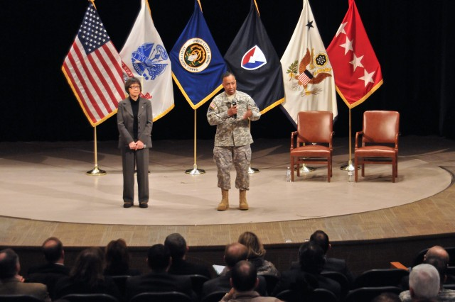 Hon. Heidi Shyu, ASA (ALT), and Gen. Dennis L. Via, AMC commanding general, answer questions from the TACOM LCMC workforce during their town hall at the Detroit Arsenal.