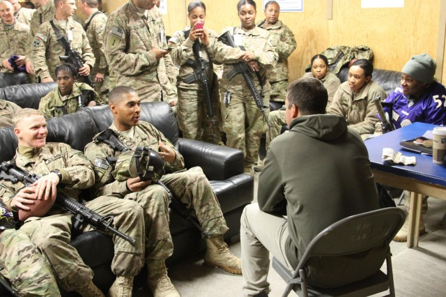 CSA visits troops in southern Afghanistan with John Harbaugh