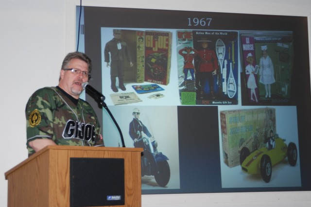 "SARATOGA SPRINGS, N.Y. - Capital Region G.I. Joe collector Tearle Ashby talks about the most rare pieces of G.I. Joe from 1967-68 at the New York State Military Museum as part of the program to commemorate the 50th Anniversary of G.I. Joe. Ashby discussed the origins of the toy's development from Hasbro. The action figure, first unveiled to toy buyers at the 1964 Toy Fair in New York City, led to decades of child's play with the 12"" and later 3 3/4"" figures. Portions of Ashby's collection has been on display at the museum since December 2012 as part of the ""Toys and Tanks"" exhibit, due to come down in March 2013. Photo by Col. Richard Goldenberg, Joint Force Headquarters."