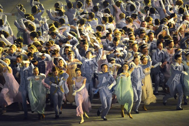 "Several of Russia's most famous ballet stars are among a throng of dancers who flood the floor of Fisht Olympic Stadium for the ""Natasaha Rostova's First Ball"" segment of Opening Ceremony of the 2014 Olympic Winter Games, Feb. 7, 2014, in Sochi, Russia. They brought Leo Tolstoy's ""War and Peace"" to life by performing in an elaborate Imperial Ball, illustrating the struggles with free will, the future, and the past for five Russian families during the Napoleonic wars. Among the Russian ballet stars: Svetlana Zakharova, Vladimir Vasiliev, Danila Korusntsev, Alexander Petukhov and Ivan Vasiliev."