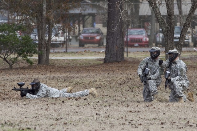 Soldiers assigned to A Company, 1/321st Infantry Regiment, 98th Training Division, 108th Training Command (IET), engage each other with paintball guns during the unit's Battle Assembly training on individual and squad movement techniques. The unit utilized paintball training in order to heighten the level of realism to the training at Charleston Air Force Base recreation area on February 8.