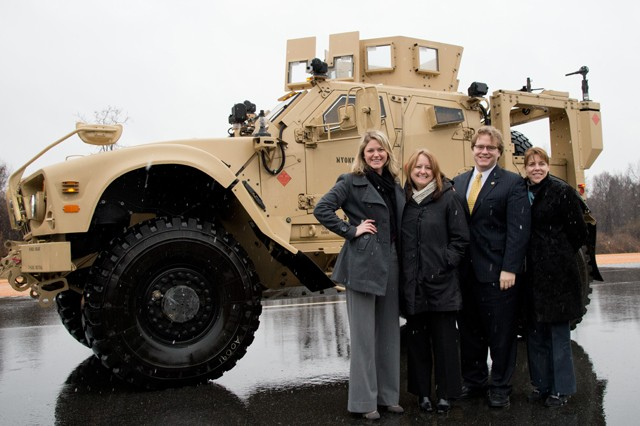Standing on the ATC Test Track are (left to right) Jennifer Riggs Driban and Deborah, J. Haynie, Justin Hayes and Mary O'Keefe during a visit to APG Feb. 3.