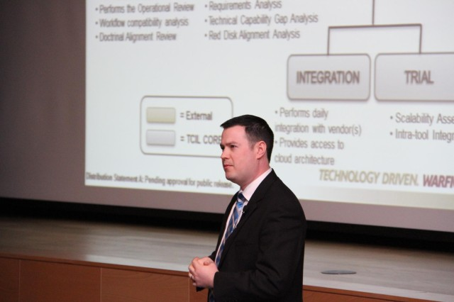 Robert Czajkowski, CERDEC's project lead for the TCIL, presented an overview of TCIL, how capabilities make it to TCIL, and which capabilities are being sought to attendees at the 2014 TCIL Industry Day. The day gave potential partners a look at how the Army is bridging gaps to fulfill soldiers' requirements.
