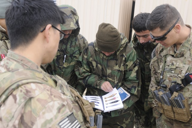 U.S. Army Explosive Ordinance Technicians from the 663rd EOD Company go over different kinds of explosive ordinance and materials with 201st Afghan National Army Corps soldiers Feb. 6, 2014, at Forward Operating Base Gamberi. The EOD Techs were helping prepare the Afghans to go through their Army's own school to become Techs themselves. (U.S. Army Photo by Spc. Eric Provost, Task Force Patriot PAO)