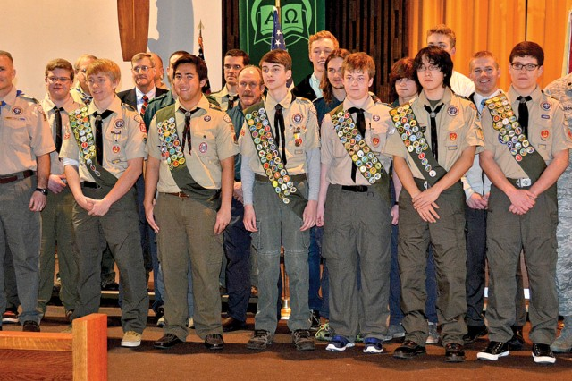 Eagle Scouts, young and old, gather for a group photo during the Eagle Scout Court of Honor at Wiesbaden's Hainerberg Chapel.
