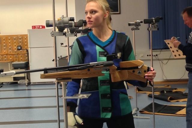 Katherine Gamble's focus is easily seen as she studies her target.