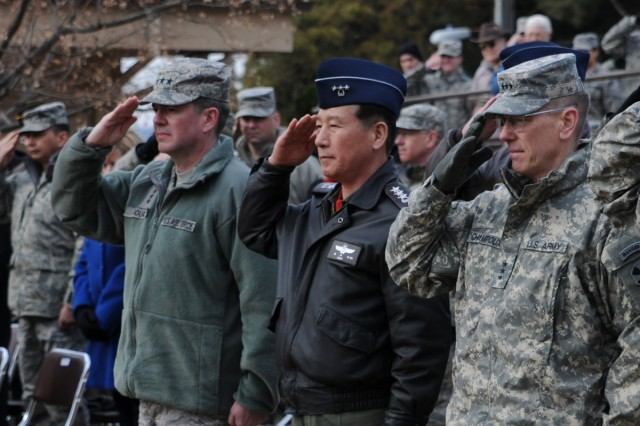 Many top U.S. and South Korean military leaders attend the ceremony, including the senior U.S. Army and U.S. Air Force commanders in Korea, Eighth Army Commanding General Lt. Gen. Bernard S. Champoux (right) and 7th Air Force Commander Lt. Gen. Jan-Marc Jouas (left).