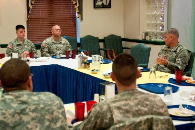 Sgt. Maj. of the Army Raymond Chandler III has breakfast with paratroopers from the 82nd Combat Aviation Brigade, 82nd Airborne Division, during his visit to Fort Bragg, N.C., Feb. 10, 2014. Chandler talked about how the Army will sustain a high-quality all-volunteer force.