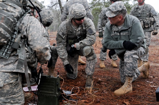 Sgt. Maj. of the Army Raymond F. Chandler III (right) speaks with infantrymen assigned to C Company, 2nd Battalion, 501st Parachute Infantry Regiment, 1st Brigade Combat Team, 82nd Airborne Division, during C Co.'s communications exercise, Feb. 11, 2014. During his visit to Fort Bragg, N.C., Chandler observed the paratroopers' training, discussed current Army issues and thanked the troopers for their hard work and service.