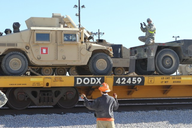 Soldiers from 2nd Battalion, 20th Field Artillery Regiment, Task Force Pegasus Fires, work to load vehicles onto a flat train car at the Fort Hood railhead, Jan. 30. The vehicles will be shipped to the National Training Center at Fort Irwin, Calif., Jan. 30. (U.S. Army photo by Sgt. Garett Hernandez, Task Force Pegasus Fires Public Affairs).