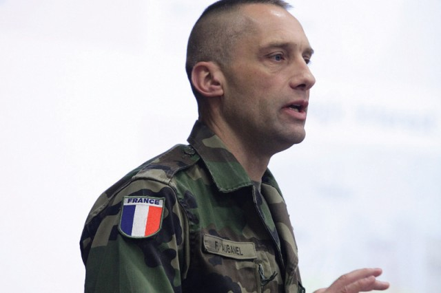 Lt. Col. Frederic Aubanel, French liaison officer to the Maneuver Center of Excellence, speaks during the Brown Bag Culture Series Feb. 4 at Derby Auditorium.