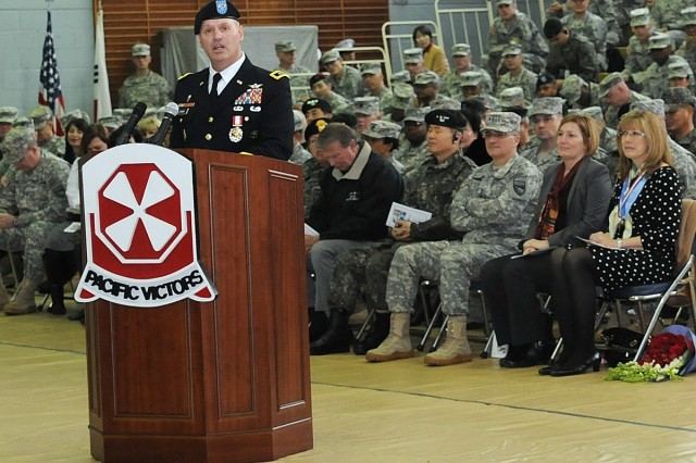 One of the pioneers of the U.S. Army Aviation Branch, Maj. Gen. Walter M. Golden Jr. speaks at his retirement ceremony on Yongsan Garrison, South Korea, Feb. 13, 2014.