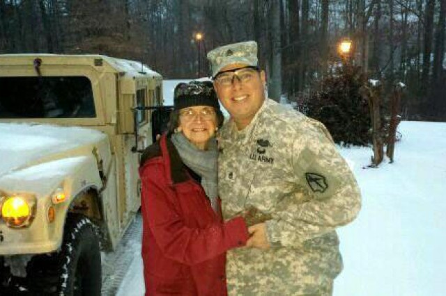 Staff Sgt. Timothy Bellinger, of Cumming, Ga. drove an 83-year-old woman home from a hospital when the storm rendered roads impassable to car traffic.