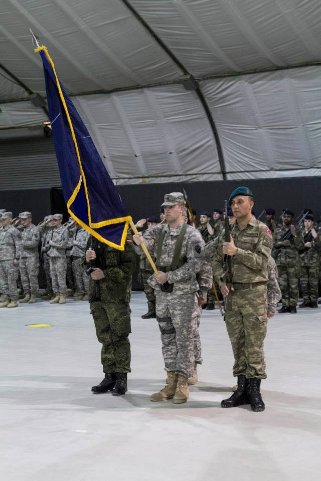 Multinational color guard at KFOR MNBG-E Transfer of Authority