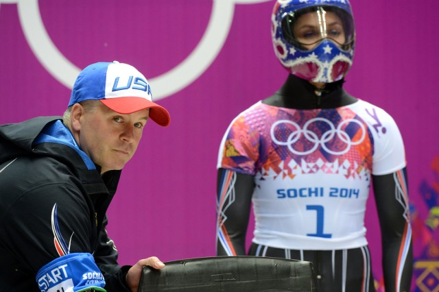 Team USA skeleton coach Vermont Army National Guard Sgt. 1st Class Tuffy Latour, with the U.S. Army World Class Athlete Program, leads Noelle Pikus-Pace (right) to an Olympic silver medal and Katie Uhlaender to a fourth-place finish in women's skeleton Friday night at Sanki Sliding Centre in Krasnaya Polyana, Russia.