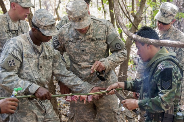 Sgt. Jontae Greer and Spc. Tory Adkins, Infantryman with 1st Battalion, 21st Infantry Regiment, 2nd Stryker Brigade Combat Team, 25th Infantry Division, receive tips from Sgt. Nariboot Seehanond, an infantry Soldier with 4th Infantry Division, Royal Thai Army, on how to season and prepare the chicken they had just freshly killed during Jungle Survival Training at Ban Dan Lan Hoi, Thailand, Feb. 8, 2014. The Jungle Survival Course is part of the larger Exercise Cobra Gold 2014, a recurring multinational and multi-service exercise, which takes place annually in the Kingdom of Thailand.