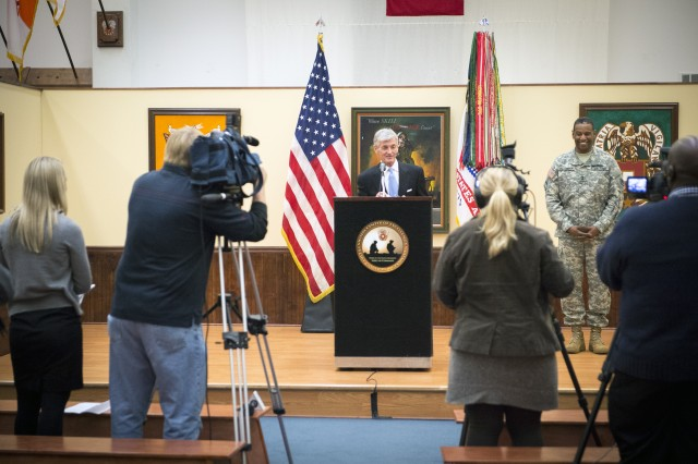 Secretary of the Army John McHugh speaks at a press conference at the U.S. Army Signal Center of Excellence Fort Gordon, Ga. Feb. 10, 2014.
