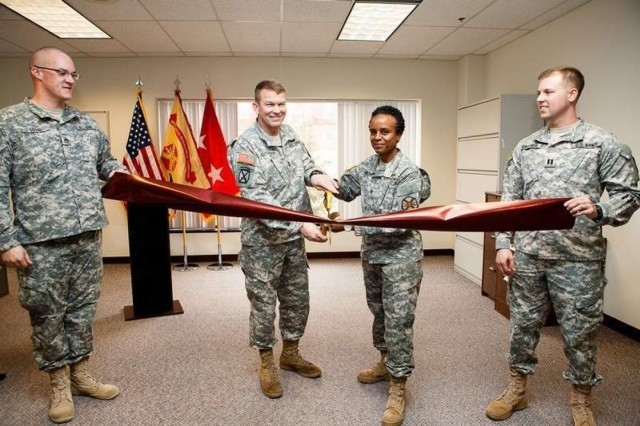 From left, Staff Sgt. David Loyal, Fort Myer Tax Center noncommissioned officer in charge; Maj. Gen. Jeffrey S. Buchanan, Joint Force Headquarters-National Capital Region and Military District of Washington commanding general; Col. Fern O. Sumpter, Joint Base Myer-Henderson Hall commander; and Capt. Aaron Matthes, Fort Myer Tax Center officer in charge. To schedule an appointment at the Fort Myer Tax Center, call 703-696-1040.