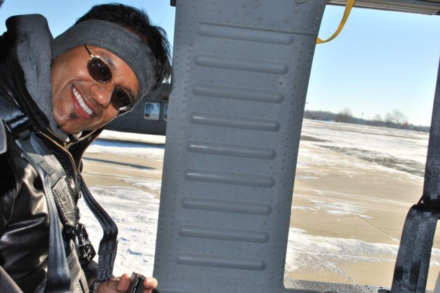 Shown is Vishal Bhagwandin, WMRD, who said the greening course was both exciting and enlightening. His favorite experiences were the Blackhawk helicopter ride and driving the M1 Abrams tank -- opportunities he thought he would never have.
