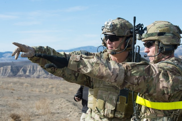 U.S. Army Chief of Staff Gen. Ray Odierno (left) observes as the 2nd Battalion, 75th Ranger Regiment conducts a live fire exercise at Fort Hunter Liggett, CA Jan. 31, 2014. (U.S. Army photo by Staff Sgt. Steve Cortez/ Released)