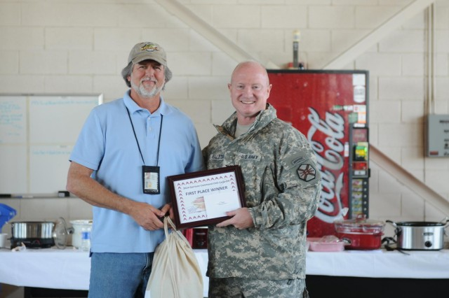 Bruce Davis, cook-off winner, and Col. Matthew G. Elledge, Fort Hood Garrison Commander pose for a photo during the 2014 Fort Hood Garrison Chili Cook-off at the Central Fire House Feb. 13. Davis prepared for the event by preparing several batches and allowing his coworkers to provide critical feedback on the chili until it was perfect. (U.S. Army Photo by Sgt. Juana M. Nesbitt 13th Public Affairs Detachment)
