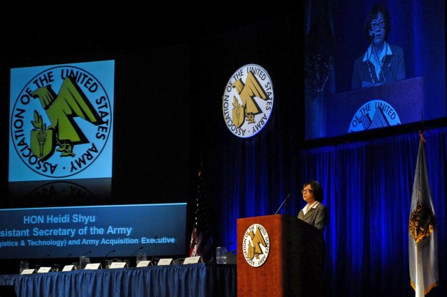 Heidi Shyu, assistant secretary of the Army for acquisition, logistics and technology, addresses AUSA Winter Symposium attendees on modernization, during the Association of the United States Army's Winter Symposium and Exposition in Huntsville, Feb. 19, 2014.