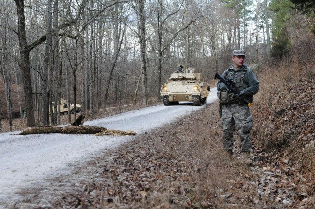 Soldiers of Tennessee National Guard's 278th Armored Cavalry Regiment make a stop to survey the area for insurgents during their convoy mission, where they navigated narrow trails winding through the Volunteer Training Site-Catoosa, Ga. The 278th spent the past three months training in virtual and field training environments, performing both day and night reconnaissance missions, to test out their new equipment.