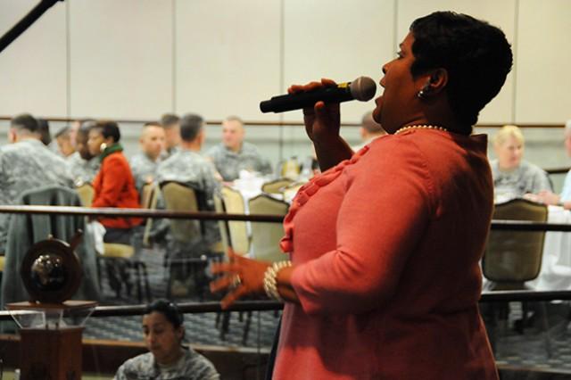 Sheila Jackson sings at the National Prayer Breakfast Feb. 13 at The Landing.