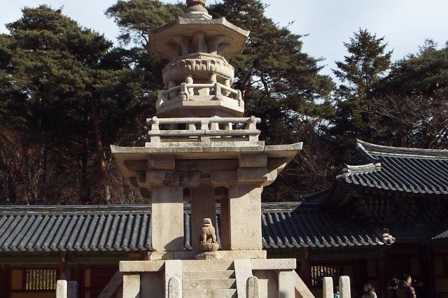 "The Dabotap Pagoda, a stone pagoda, features ornate and detailed carvings. Also known as ""Pagoda of Many Treasures,"" it is located on the Bulguksa Temple grounds."
