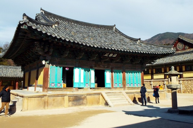 Throughout the Bulguksa Temple complex, curious visitors seek an up close and candid view of one of South Korea's historic architectural masterpieces.