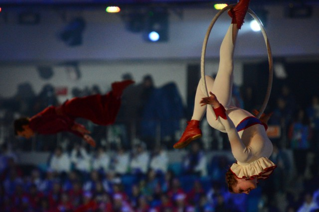 Acrobats demonstrate Russia's circus culture in a scene of the Sochi 2014 Closing Ceremony in  Fisht Olympic Stadium, Feb. 23, 2014, in Sochi, Russia.