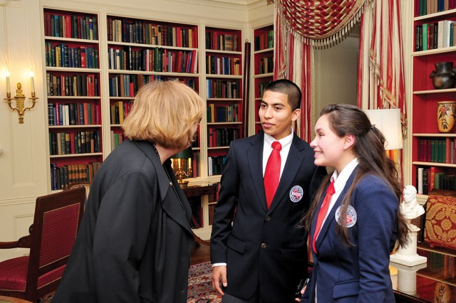Students in the eCYBERMISSION program receive a warm welcome at the White House Science Fair from Dr. Patricia Falcone, associate director for national security and international affairs in the White House Office of Science and Technology Policy. The annual eCYBERMISSION competition, part of the AEOP, is a free online program to cultivate student interest in STEM by encouraging students in grades six through nine to develop solutions to real-world challenges in their areas.