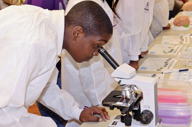A student explores other student research at the September 2013 closing ceremony for participants in the AEOP programs GEMS, SEAP and CQL, at Georgetown University in Washington, D.C..