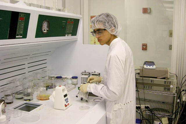 Saumil Bandyopadhyay fabricates photodetectors in the Wright Virginia Microelectronics Center clean room at Virginia Commonwealth University during his high school years. Before he reached his senior year in high school, Bandyopadhyay spent an estimated 1,600 hours creating a photodetector that could work at room temperature.