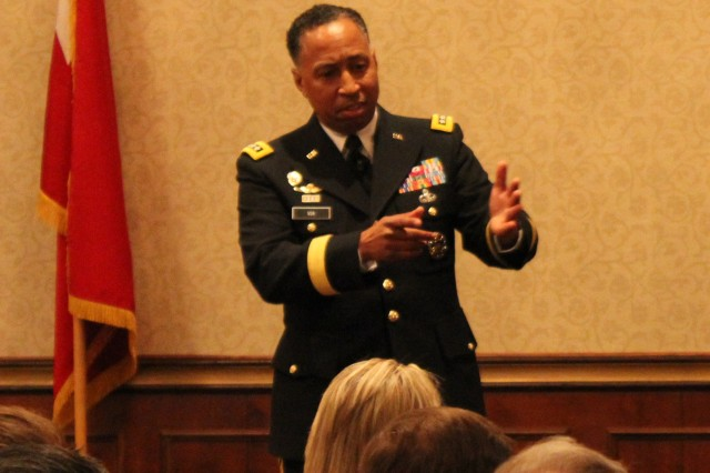 Gen. Dennis Via, commander of the Army Materiel Command, speaks at the Team Redstone Industry Outreach on Feb. 18 at The Summit.