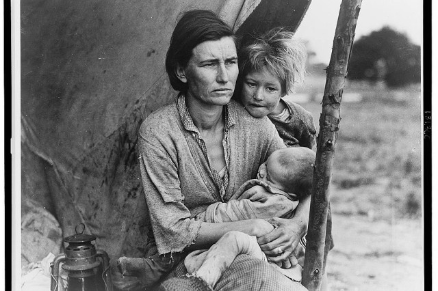 "Migrant agricultural worker's family.  Photograph shows migrant worker Florence Thompson with two of her children as part of the ""Migrant Mother"" photo series produced in 1936 by photographer Dorothea Lange; one of the preeminent and pioneering documentary photographers of the 20th century.  During the Great Depression, Dorothea Lange photographed the unemployed men who wandered the streets. Her photographs of migrant workers were often presented with captions featuring the words of the workers themselves."