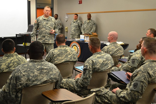 Col. Stuart J. McRae, Fort Rucker garrison commander, speaks to Army Emergency Relief unit coordinators and key workers during training Feb. 13. The AER fundraising campaign kicks off with a ceremony Mar. 4 at 2 p.m. at the U.S. Army Aviation Museum.