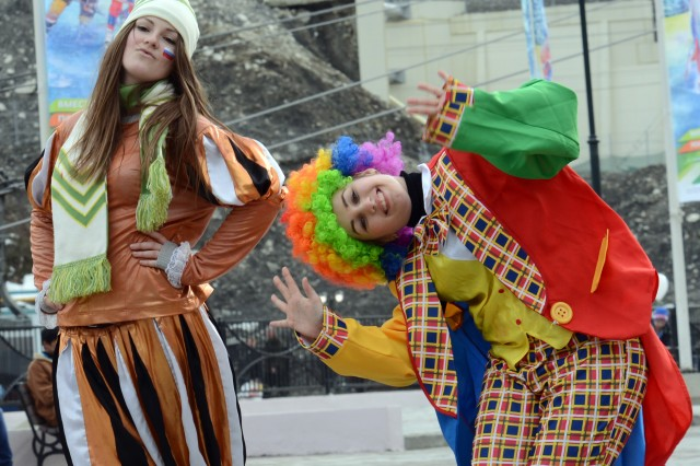 "Russian entertainers perform at a ""Sochi 2014 Live"" site in Gorki Plaza at bottom of the gondola going up to Krasnaya Karusel."