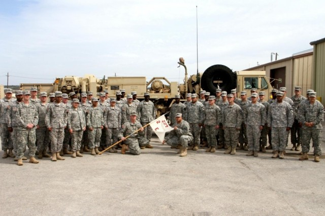 Soldiers with Company E, 2nd Battalion, 227th Aviation Regiment, 1st Air Cavalry Brigade, 1st Cavalry Division, gather for a group photo at Hood Army Airfield, Fort Hood, Texas, Feb. 20. The company placed first in the medium-size category at the division level in the recent Army Award for Maintenance Excellence competition and will be competing at the Department of the Army level in April.