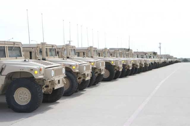 Humvees are lined up at the 615th Aviation Support Battalion, 227th Aviation Regiment, 1st Air Cavalry Brigade, 1st Cavalry Division's motor pool at Fort Hood, Texas, Feb. 20. The 615th ASB placed first in the large-size category at the division and U.S. Forces Command level in the recent Army Award for Maintenance Excellence competition.