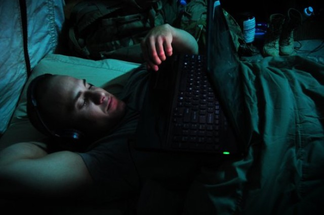 A healthy sleep of seven or eight hours does a lot for health and performance. Here, Spc. Steven McGovern, from the 16th Military Police Brigade, catches some winks in Afghanistan.