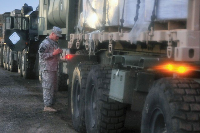 Soldiers deliver Meals, Ready to Eat, water, fuel and other supplies to the 3rd BCT, 82nd Airborne Division during an exercise at the Joint Readiness Training Center on Fort Polk, LA, Aug. 23, 2013.