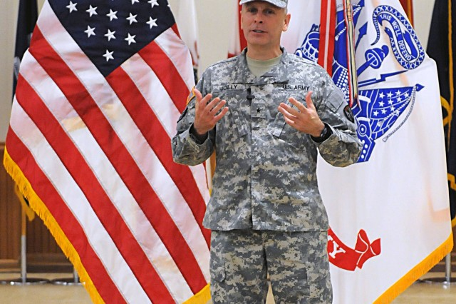 Brig. Gen. Phillip Jolly, commander of Army Reserve Sustainment Command, speaks at the Army Sustainment Command-Army Reserve Element change of command ceremony in Heritage Hall at Rock Island Arsenal, Ill., March 1. (Photo by Sgt. 1st Class Shannon Wright, ASC Public Affairs Office)