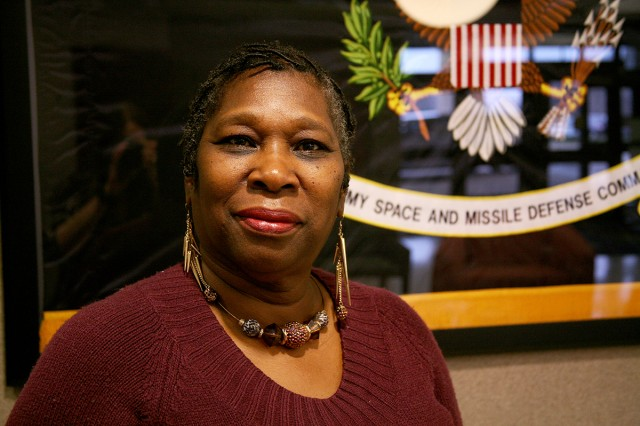 Olive P. Jordan works as a secretary office automation for the U.S. Army Space and Missile Defense Command/Army Forces Strategic Command.