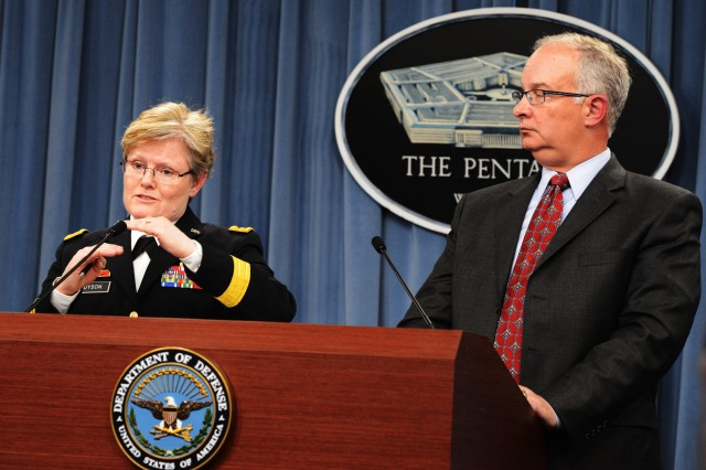 Maj. Gen. Karen E. Dyson, director, Army Budget and Davis S. Welch, deputy director, Army Budget, explain the Army's proposed budget to reporters at the Pentagon during the budget roll-out, March 4, 2014.
