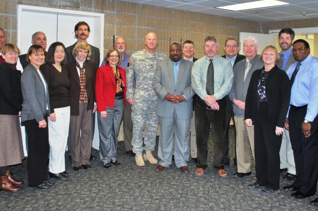 Shown center is Dr. Laurel Allender, director of the Human Research and Engineering Directorate and Col. Matthew Clarke, HRED-Orlando, with leaders who attended a two-day branch chief/field element chief meeting at Aberdeen Proving Ground, Md., Feb. 10-11. The chiefs were from Fort Knox, Ky.; Warren, Mich.; Orlando, Fla.; Fort Sill, Okla.; Fort Huachuca, Ariz.; Fort Leavenworth, Kan.; Huntsville, Ala.; Fort Benning, Ga.; Fort Rucker, Ala.; Fort Bliss, Texas; Fort Belvoir, Va.; Fort Leonard Wood, Mo.; as well as, New Jersey and APG.