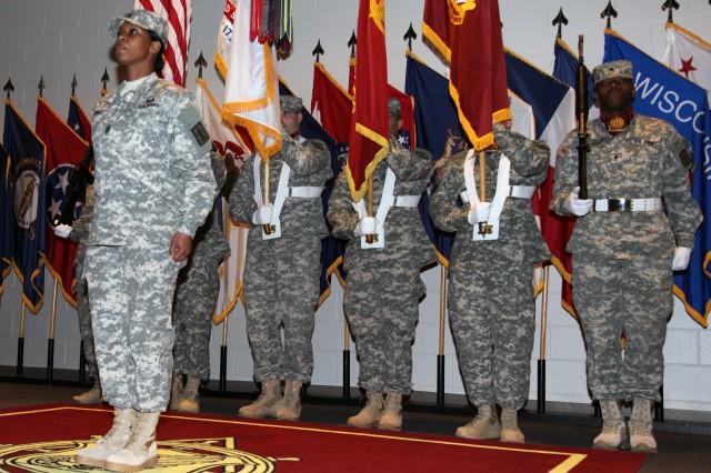 Command Sgt. Maj. Cynthia B. Howard took her place as the 12th Transportation Corps regimental command sergeant major during a March 4 ceremony at the Transportation School. She became the first female Soldier to hold the top noncommissioned officer position.