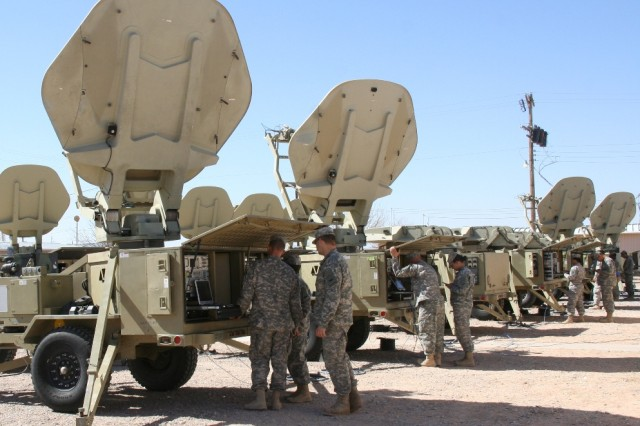 Soldiers from the Army's 86th Expeditionary Signal Battalion train on Warfighter Information Network-Tactical (WIN-T) Satellite Transportable Terminals upgraded with WIN-T Increment 1B advancements, at Fort Bliss, Texas on Feb. 20, 2014.