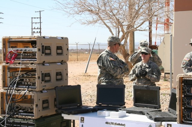 During Network Integration Evaluation (NIE) 14.2, the Army will evaluate a 4G LTE system that allows Soldiers to use the Secure Internet Protocol Router (SIPR) Network on the battlefield via mobile devices and Wi-Fi.  The equipment shown was part of a demonstration for Warfighter Information Network-Tactical (WIN-T) Increment 1 advancements, at Fort Bliss, Texas on Feb. 20, 2014.