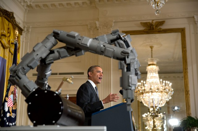 President Barack Obama delivers remarks announcing two new public-private Manufacturing Innovation Institutes, and launches the first of four new Manufacturing Innovation Institute Competitions, in the East Room of the White House, Feb. 25, 2014.